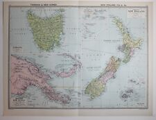 1920 LARGE MAP TASMANIA & BRITISH NEW GUINEA ~ NEW ZEALAND FIJI ISLANDS SAMOA