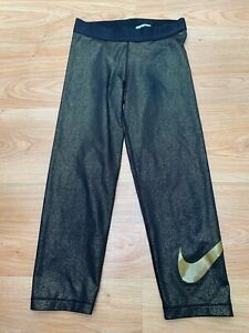 Small Women's Nike PRO Leggings Tights Pants in Gold Fleck Gym Running / 99p !!!