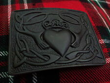 TC Men's Scottish Kilt Belt Buckle Irish Claddagh Jet Black Finish/Kilt Buckle