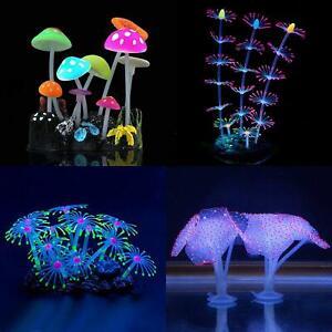 Aquarium Decoration Coral Soft Silicone Mushroom Glowing Fish Tank 4pc Set