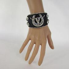 Women silver bull horse shoe western fashion black faux leather bracelet bling