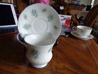 Royal Dover Bone China Tea Cup and Saucer Blue England Vintage BEAUTIFEL