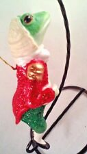 David DeCamp Frog 5 inch  Christmas Ceramic Ornament New In wig & finery Clothes