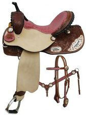 """14"""" Barrel Racing Racer PINK COWGIRL UP Leather Saddle Bridle Breast Collar Set"""