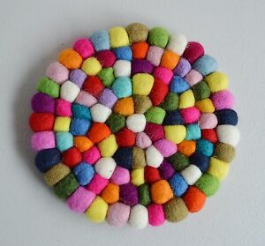 Pom Felt Balls Wool Handmade Choose Beads Craft Quantity Coaster Mix Nepal 19cms