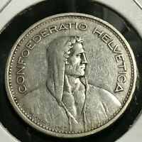 1931-B SWITZERLAND  SILVER 5 FRANCS NICE COIN