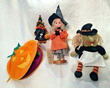Vtg lot Halloween ornament bear- wacky witch- Rare Bradley Witch - pumpkin witch