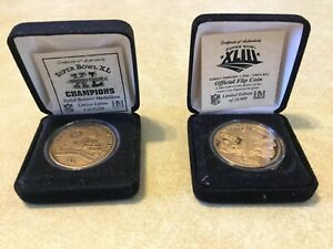 Pittsburgh Steelers Highland Mint Super Bowl 40 and 43 Flip Coins.