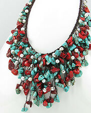 "STYLISH 16-18"" Beauty Coral & Turquoise Bib Statement Necklace Natural Stones"