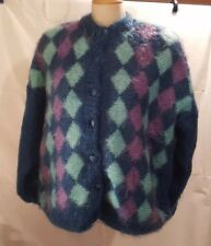 Antartex Mohair Lined Sweater Womens Large Argyll Teal Pink