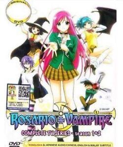 DVD Anime Rosario + Vampire TV Series Season 1+2 Episode 1-26 End English Dubbed