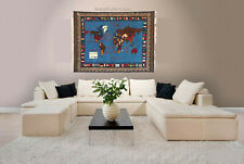 Rare gigantic oriental wall Rug world Atlas carpet map hand Knotted welt Teppich