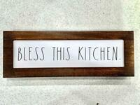 """Rae Dunn Iconic  """"BLESS THIS KITCHEN"""" Wooden Sign 14"""" x 5 """"x 1.5"""" VHTF NEW 2020"""