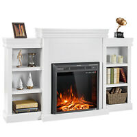 "Costway 70""Fireplace TV Stand Media W/ 26"" 750W/1500W Electric Fireplace White"
