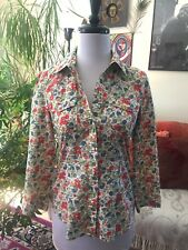 THEORY sz P Western Snaps Floral Cotton 3/4 Sleeve Blouse Top