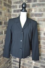 TALBOTS Women's Blazer size 8 Black Button Front Lined Jacket Career NWT $169 BE