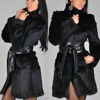 Plus Size Women Fashion Long Sleeve Fur Neck Zipper Pockets Casual Coat Jacket