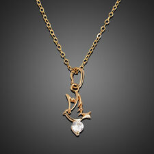 18K Gold Filled Womens Dove Pigeon Bird Crystal Necklace Pendant Chain Jewelry