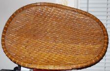 "Rare: Large Shallow 19""x 14""x 1 3/4"" Egg Shaped Woven Basket"