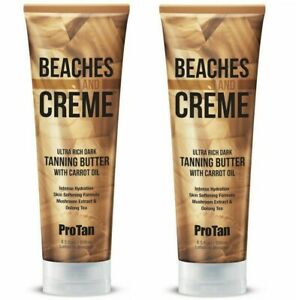 2 x Pro Tan Beaches & Creme Dark Tanning Butter With Carrot Oil Lotion 4 Sunbeds