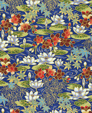 FLOATING WATER GARDEN: Blue Asian Japanese Quilt Fabric - 1/2 Yd.