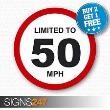 Limitado a 50 mph restricción de velocidad del vehículo Impreso Pegatina de vinilo coche furgoneta 80mm