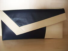 CREAM & NAVY BLUE asymmetrical faux leather clutch bag.  Handmade in the UK.