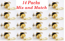 14 Packs Reversible Privacy / Passage Wave Style Door Lock Lever Polished Brass