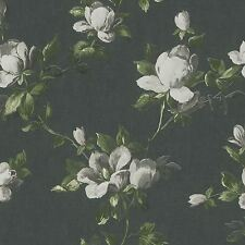 EMILIA ROSE FLORAL WALLPAPER CHARCOAL GREY - RASCH 502176 PASTE THE WALL