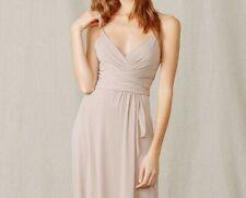 24692ac3a3 Amsale Beige Surplice Draped Maxi Dress Bridesmaid Wedding Womens Size 12   260