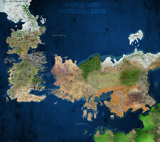 "Game Of Thrones World View Westeros & Essos Map Fabric poster 32""x24"" Decor 62"