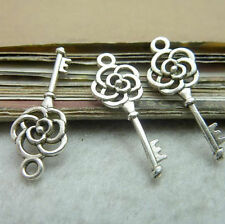 20pc Tibetan Silver Rose Key Charms Beads Craft Jewellery Beading Pendant PJ268