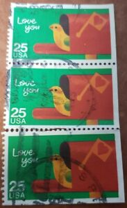 GM92 U S A LOVE YOU 25C SET OF 3 USED STAMPS