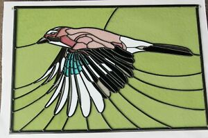 Newly crafted Traditional Stained Glass Window Panel JAY IN FLIGHT  695 by 481mm