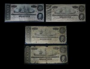 1864 T-67 $20 Confederate States Set of 4 Notes -  No Reserve Auction 99C Open
