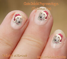 SALUKI wearing Christmas Santa Hat Dog Nail Art Stickers gift stocking filler