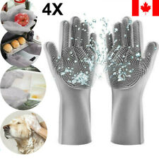 2Pair Magic Dish Washing Gloves Silicone Rubber Scrubber Cleaning Glovers Gray