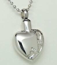 Engraveable Heart Urn Necklace, Footprints in the Sand Memorial