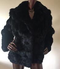 vintage real fur black rabbit coney coat jacket short glossy soft uk12 uk14