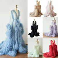 Women Tulle Maternity Sleepwear Robe Ruffle Dress Maternity Gown for Photo Shoot