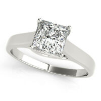 1.00 Ct VVS1/D Princess Cut Diamond Engagement Ring 14K Real White Gold Size 6 7