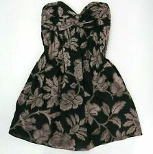 Milly Cocktail Dress Womens Sz 0 Black Strapless Pink Floral Party Mini