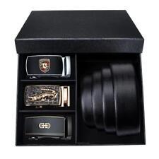 Luxury Men's Belts Black Leather Belt Automatic Buckle Waistband Strap Gift Box