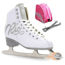 Rio Roller Script Figure Ice Skate Package - White - With Bag & Blade Guards