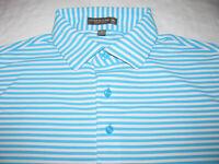 Peter Millar Summer Comfort Polo Men LARGE Blue Stripe Short Sleeve