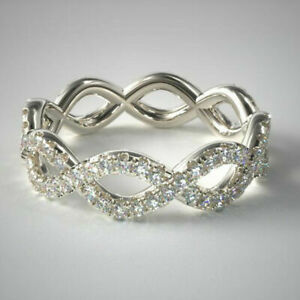 Real Natural Diamond Infinity Style Wedding Ring 14k Solid White Gold Jewelry