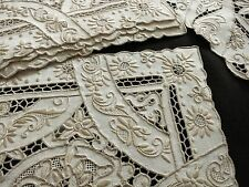 Striking Antique Cutwork & Heavily Hand Embroidered Linen 8 Placemats & Runner