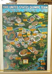 Vintage USA Olyimpic Team 1988 Seoul Korea Poster Gary Whitney Artist