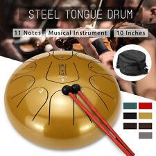 10'' 11 Notes Steel Tongue Drum Handpan D Major Tankdrum Percussion + Bag Mallet