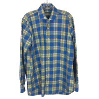 Peter Millar Men's Button Front Long Sleeve Plaid Shirt ~ L ~Blue, Yellow & Pink
